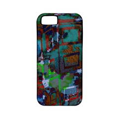 Dark Watercolor On Partial Image Of San Francisco City Mural Usa Apple iPhone 5 Classic Hardshell Case (PC+Silicone)