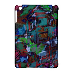 Dark Watercolor On Partial Image Of San Francisco City Mural Usa Apple iPad Mini Hardshell Case (Compatible with Smart Cover)