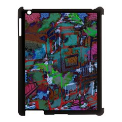 Dark Watercolor On Partial Image Of San Francisco City Mural Usa Apple iPad 3/4 Case (Black)