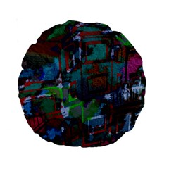 Dark Watercolor On Partial Image Of San Francisco City Mural Usa Standard 15  Premium Round Cushions