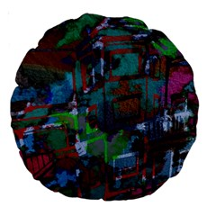 Dark Watercolor On Partial Image Of San Francisco City Mural Usa Large 18  Premium Round Cushions