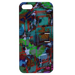 Dark Watercolor On Partial Image Of San Francisco City Mural Usa Apple iPhone 5 Hardshell Case with Stand