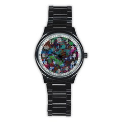 Dark Watercolor On Partial Image Of San Francisco City Mural Usa Stainless Steel Round Watch