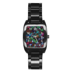 Dark Watercolor On Partial Image Of San Francisco City Mural Usa Stainless Steel Barrel Watch