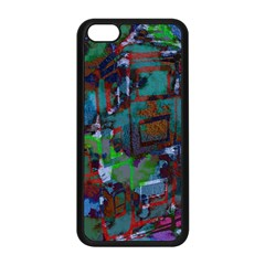 Dark Watercolor On Partial Image Of San Francisco City Mural Usa Apple iPhone 5C Seamless Case (Black)