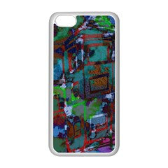 Dark Watercolor On Partial Image Of San Francisco City Mural Usa Apple iPhone 5C Seamless Case (White)