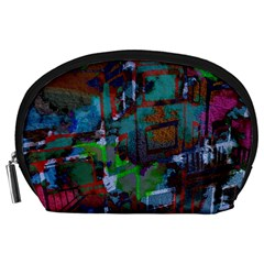 Dark Watercolor On Partial Image Of San Francisco City Mural Usa Accessory Pouches (Large)
