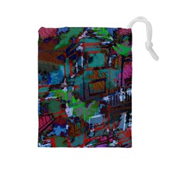 Dark Watercolor On Partial Image Of San Francisco City Mural Usa Drawstring Pouches (Large)