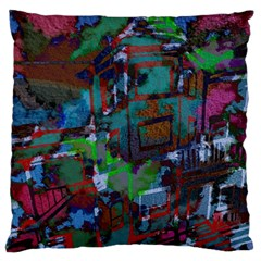 Dark Watercolor On Partial Image Of San Francisco City Mural Usa Large Flano Cushion Case (Two Sides)