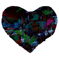 Dark Watercolor On Partial Image Of San Francisco City Mural Usa Large 19  Premium Flano Heart Shape Cushions