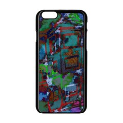 Dark Watercolor On Partial Image Of San Francisco City Mural Usa Apple iPhone 6/6S Black Enamel Case