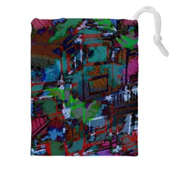 Dark Watercolor On Partial Image Of San Francisco City Mural Usa Drawstring Pouches (xxl)
