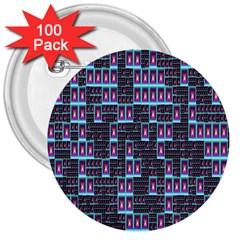 Techno Fractal Wallpaper 3  Buttons (100 pack)