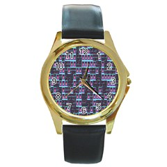 Techno Fractal Wallpaper Round Gold Metal Watch