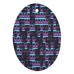 Techno Fractal Wallpaper Oval Ornament (two Sides)