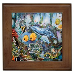 Colorful Aquatic Life Wall Mural Framed Tiles