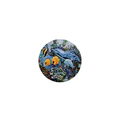 Colorful Aquatic Life Wall Mural 1  Mini Buttons