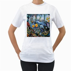Colorful Aquatic Life Wall Mural Women s T-Shirt (White) (Two Sided)