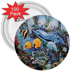 Colorful Aquatic Life Wall Mural 3  Buttons (100 Pack)