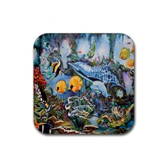 Colorful Aquatic Life Wall Mural Rubber Square Coaster (4 Pack)