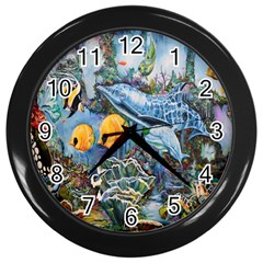 Colorful Aquatic Life Wall Mural Wall Clocks (black)