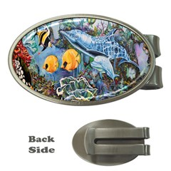 Colorful Aquatic Life Wall Mural Money Clips (oval)