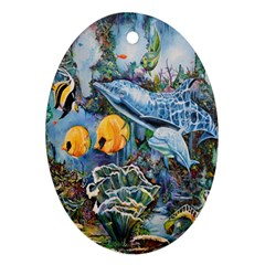Colorful Aquatic Life Wall Mural Oval Ornament (Two Sides)