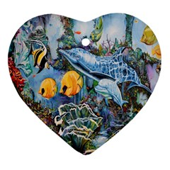 Colorful Aquatic Life Wall Mural Heart Ornament (Two Sides)