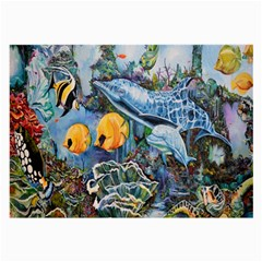 Colorful Aquatic Life Wall Mural Large Glasses Cloth (2 Side)