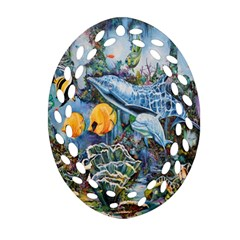 Colorful Aquatic Life Wall Mural Ornament (Oval Filigree)