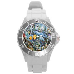 Colorful Aquatic Life Wall Mural Round Plastic Sport Watch (L)