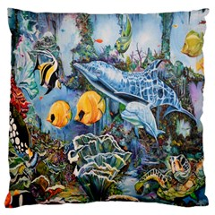 Colorful Aquatic Life Wall Mural Large Cushion Case (Two Sides)