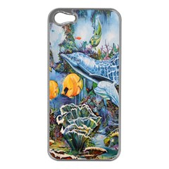Colorful Aquatic Life Wall Mural Apple Iphone 5 Case (silver)