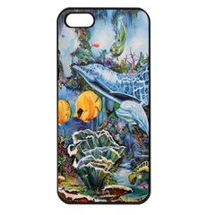 Colorful Aquatic Life Wall Mural Apple Iphone 5 Seamless Case (black)