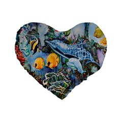 Colorful Aquatic Life Wall Mural Standard 16  Premium Heart Shape Cushions