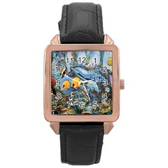 Colorful Aquatic Life Wall Mural Rose Gold Leather Watch
