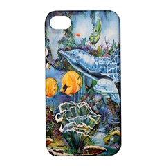 Colorful Aquatic Life Wall Mural Apple iPhone 4/4S Hardshell Case with Stand
