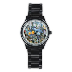 Colorful Aquatic Life Wall Mural Stainless Steel Round Watch