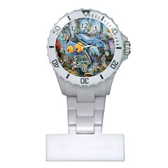 Colorful Aquatic Life Wall Mural Plastic Nurses Watch