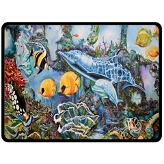 Colorful Aquatic Life Wall Mural Double Sided Fleece Blanket (Large)