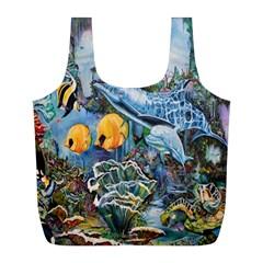 Colorful Aquatic Life Wall Mural Full Print Recycle Bags (L)