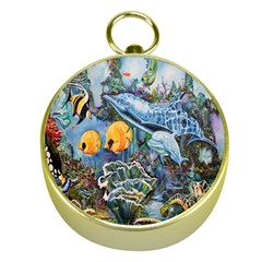 Colorful Aquatic Life Wall Mural Gold Compasses