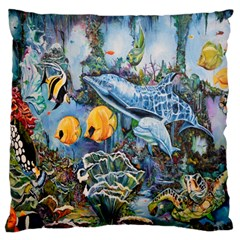 Colorful Aquatic Life Wall Mural Standard Flano Cushion Case (One Side)