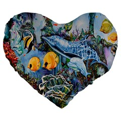 Colorful Aquatic Life Wall Mural Large 19  Premium Flano Heart Shape Cushions
