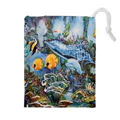 Colorful Aquatic Life Wall Mural Drawstring Pouches (extra Large)