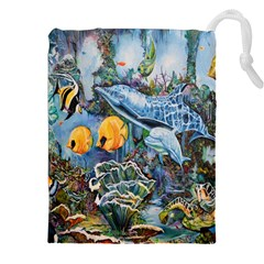 Colorful Aquatic Life Wall Mural Drawstring Pouches (xxl)