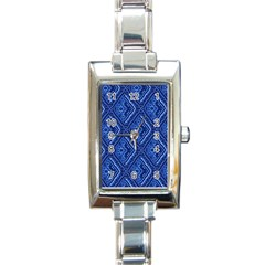 Blue Fractal Background Rectangle Italian Charm Watch