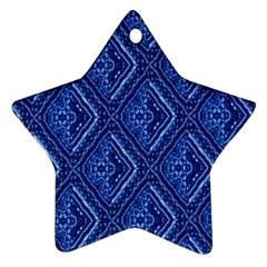 Blue Fractal Background Ornament (star)