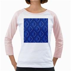 Blue Fractal Background Girly Raglans