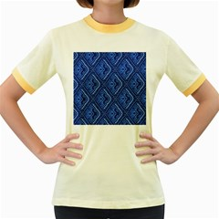 Blue Fractal Background Women s Fitted Ringer T Shirts